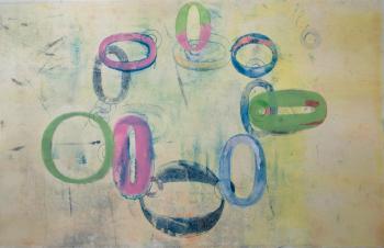 "Alice Kresse, ""Oh Pink Grotesk"", monoprint"